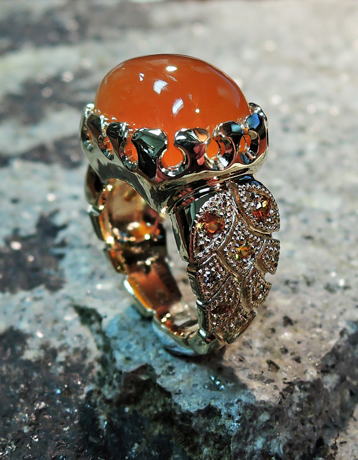 Carnelian agate ladies ring