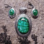 Malachite Pendant and Earrings