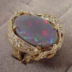Lightening Ridge Black Opal ring