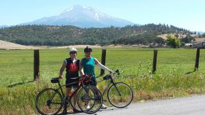 Sharla Gibson enjoying cycling with Melanie Zelwick in Tehama County, California
