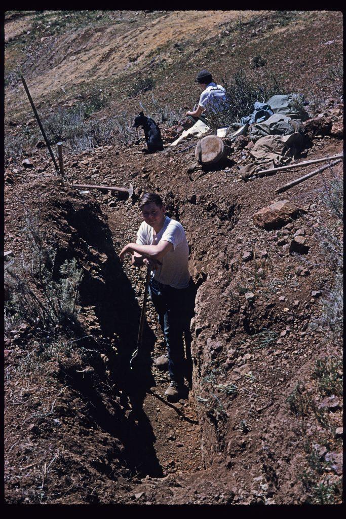 Marcasite dig near Nipomo, California, circa 1952