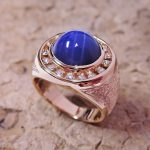 Synthetic Star Sapphire Man's Ring