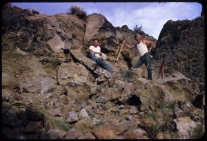 Al and John mining Bruneau jasper in Bruneau Canyon, Owyhee County, Idaho, USA