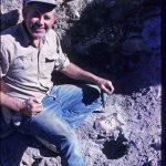 Al Gaumer mining for Bruneau jasper in Bruneau Canyon, Owyhee County, Idaho, USA