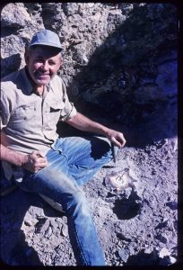 Al Gaumer mining for Bruneau jasper in Bruneau Canyon, Owyhee County, Idaho, USA
