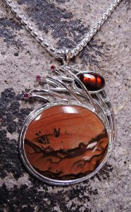 Deschutes picture jasper pendant with fire agate