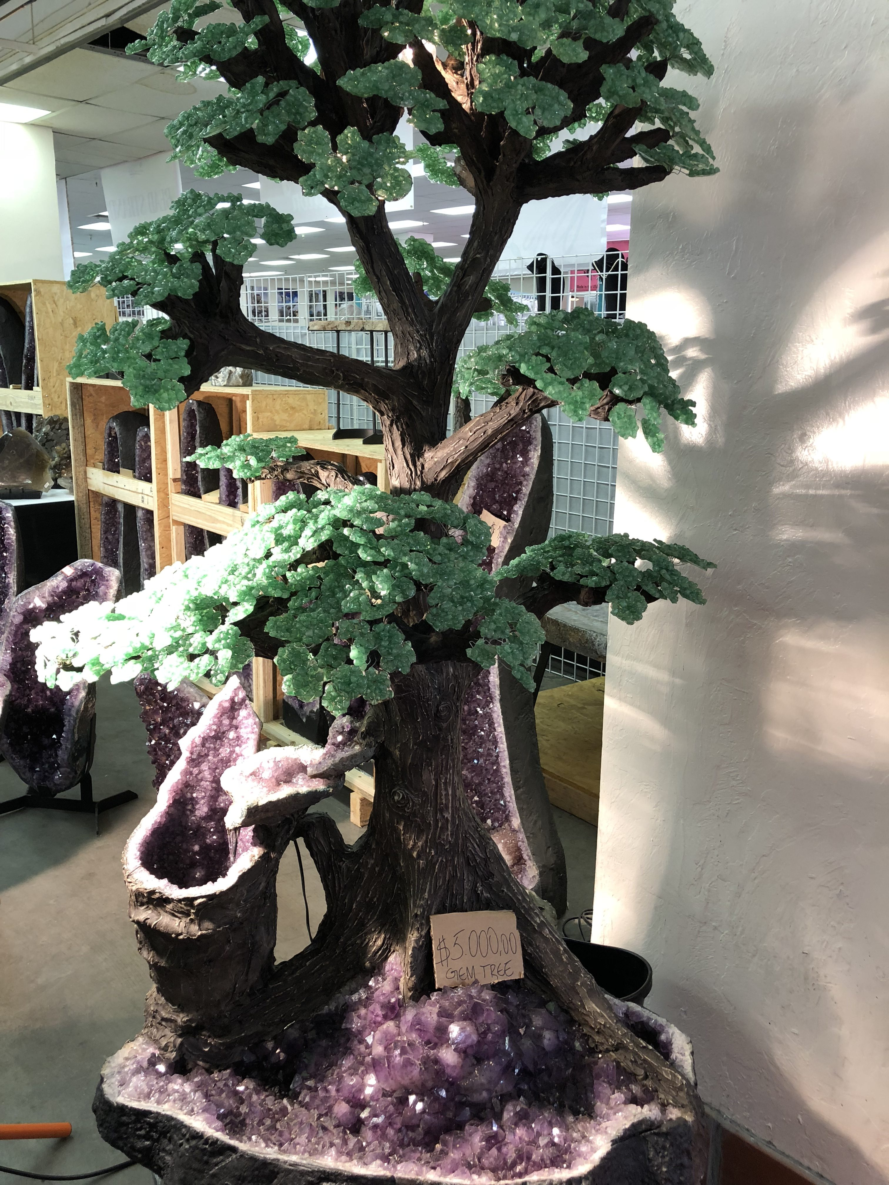 Life-size gemstone tree