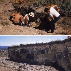 In the early years (top), we dug at the base of the slope where the overburden was shallow. In later years (bottom), the cliff of overburden rose high above the diggings.