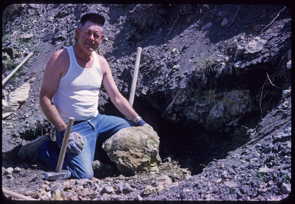 Al Gaumer Mining Willow Creek jasper near Eagle, Idaho
